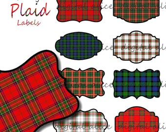 Digital TARTAN PLAID LABELS Tags - Fancy Labels -colorful Scottish Plaid Printable Tags,Stickers, Labels ,Instant Download Digital Printable