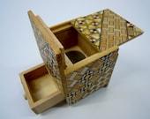 Japanese Puzzle box (Himitsu bako)- 54mm (2.1inch) Kaku Cube 4steps with hidden Drawer box Yosegi