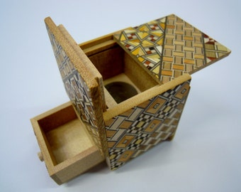 Japanese Puzzle box (Himitsu bako)- 54mm (2.1inch) Kaku Cube 4steps with hidden Drawer box Yosegi