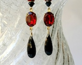 Earrings Art Deco Earrings Ruby Red & Jet Black Long Dangle Vintage Rhinestone Drops Earrings Flapper Earrings - Lady Mary -