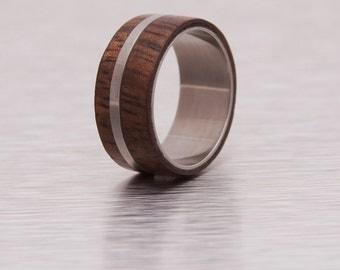 Mens Wood Ring WIth Titanium Ring Mens Wedding Band  Ring hawaian koa ring