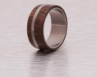 Mens Wood Ring WIth Titanium Ring Mens Wedding Band Silver Ring hawaian koa ring
