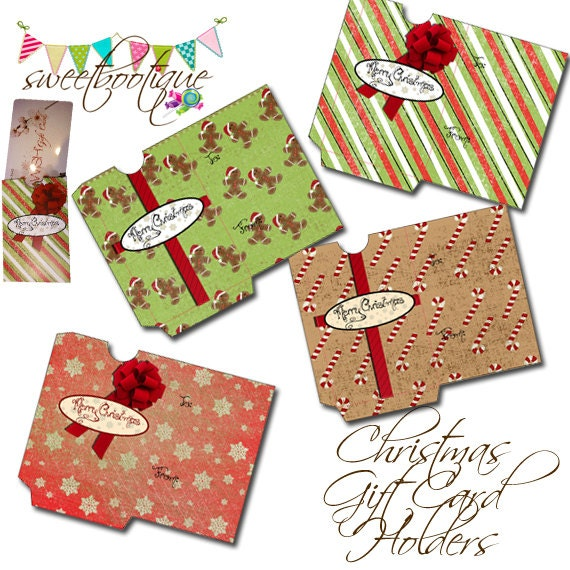 Christmas gift card holders diy printable instant download