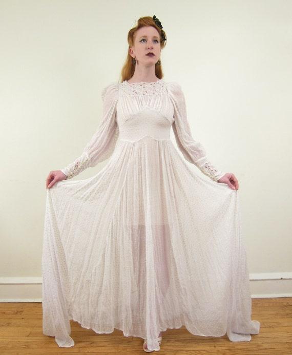 Vintage 1940s wedding dress in dotted swiss silk by for Dotted swiss wedding dress