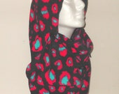 Womens Cheetah In Black With Dark Pink And Teal Print Fleece Adult Balaclava Hat