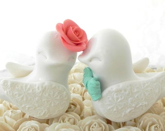 Love Birds Wedding Cake Topper, White, Coral and Mint Green, Bride and Groom Keepsake, Fully Custom