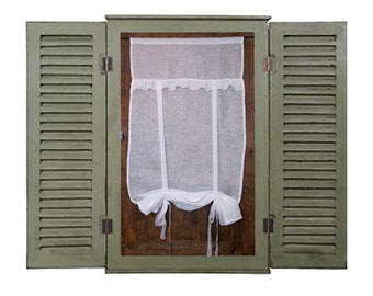 "White Sheer French Linen Window Valance Curtain, Sheer Roll up Ruffle Shade, Bathroom Tie up Curtain, 28"" Length"