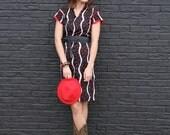 Darla, French Vintage, 1970s Black Polka Dot Stripe Midi Dress, from Paris