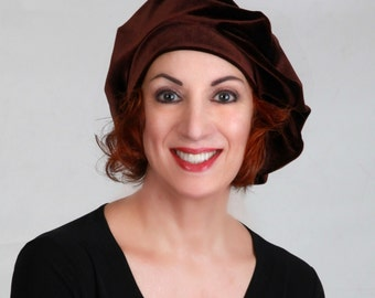 702-06 Dark Brown Velvet Beret, French Beret, Large Beret, Slouchy Hat, Chemo Hat, Alopecia Hat