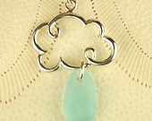 Cloud Necklace With GENUINE Aqua Sea Glass Jewelry