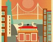 San Francisco Skyline Art Print, Cable Car Print, SF vertical print for Nursery Children's room, Loose Petals City Art Print style E8-O-SF19