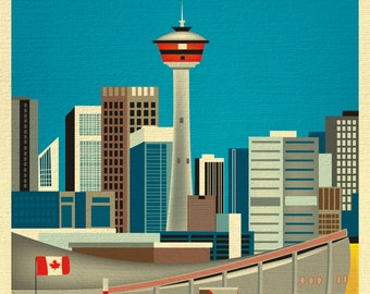 Calgary Skyline Print, Canada Travel Poster,  Calgary map print, Calgary Vertical Wall Art - for Home, Office, and Nursery - style E8-O-CAL