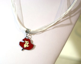 White Princess Charm Movie Necklace - girls necklace - girls teens womens necklace, Little Mermaid, Red Hair, Disney Princess