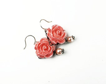 Vintage Style Pearl Pink Rose Earrings, Silver Filigree, Gifts for Her