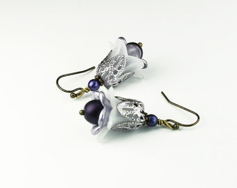 Lavender & White Flower Earrings, Vintage Style, Czech Glass Beads, Hand Painted Filigree