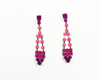 Hand Painted Neon Rhinestone Earrings