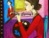 Frida Kahlo My Own Portrait By Spring 6x8 ORIGINAL PAINTING Acrylic On Canvas Mexican Folk Art