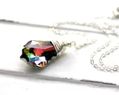 Rainbow Crystal Necklace, Colorful Swarovski Crystal Baroque Pendant on Sterling Silver Cable Chain
