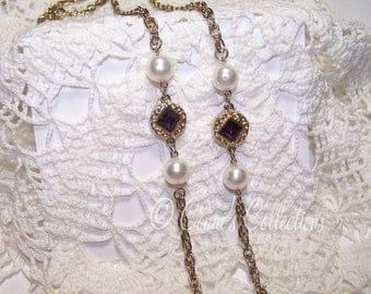 Beautiful Gold Tone Necklace with Faux Pearls & Purple Rhinestone Accents Long Chain Vintage Autumn Fall Winter Accessory Style Fashion