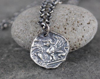 Sphinx Coin Necklace - Ancient Greek style coin charm, sterling silver rolo chain- Egyptian - Power, Protection- Antiqued- free shipping USA