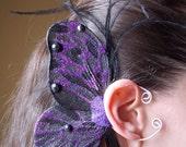 Purple Fairy Pixie Fae Butterfly Reversible Ear Cuff Wings Fantasy LARP Cosplay