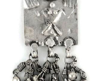 RARE: Antique Indian Amulet, Ethnic Tribal, Old India Pendant, Silver Folk Style Goddess Devi, Himachal Pradesh, India, Ethnic Tribal, 11Gms