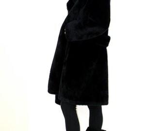 VTG MOD Blk Plush Luxury Faux Fur BORGANA Swing Coat Glamorous 60s Warm Winter Coat
