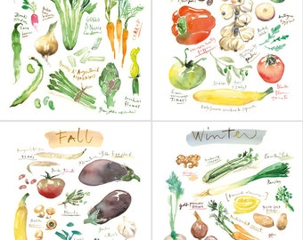 Watercolor vegetable print set, Four seasons art, Set of 4 prints, Large prints, Garden art, Kitchen print set, Wall decor, Food art print