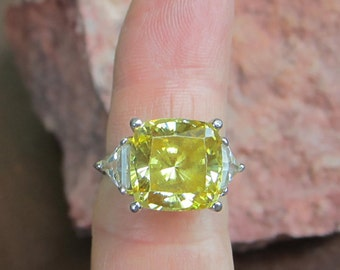 Vintage lemon Yellow CZ sterling silver Hollywood Ring