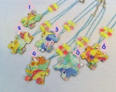 CLEARANCE SALE Care Bears Vintage Puzzle Piece Under Resin Decoden Decorated Pendant Necklace Pastel Blue Yellow Pink Rainbow