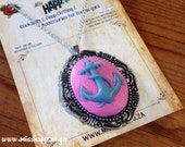 Pink and blue anchor Cameo Necklace