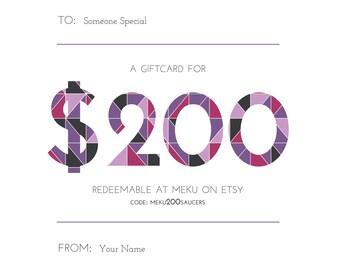 200 Dollar (USD) Gift Card - Custom Names - Digital PDF Emailed or Printed Card