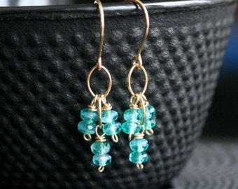 Dainty teal dangle earrings, Czech glass beads, 14k gold filled, wire wrapped, small beaded dangle, Mimi Michele Jewelry