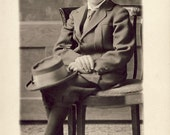 DAPPER Young Boy Holding His HAT On His LAP With Great Distinction Photo Postcard Circa 1910 Whitefish Montana