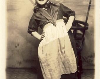 Little Girl Dressed In DUTCH HAT and DRESS Photo Postcard Circa 1910s Spokane Washington