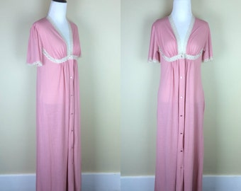 Vintage Pink Lace Nightgown / Vintage Full Length House Coat / Maxi Robe Flutter Sleeves S M