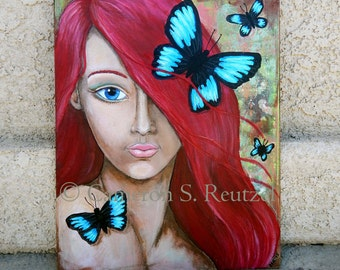 Mixed Media Paintings ORIGINAL BUTTERFLY Art Whimsical Artwork Big Eyed Girls Insect Lovers Gifts Blue Butterflies Lotus and Nightshade
