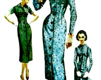 1950s Coat Dress and Scarf - SIMPLICITY 1711 - 1956 Vintage Sewing Pattern - Bust 35