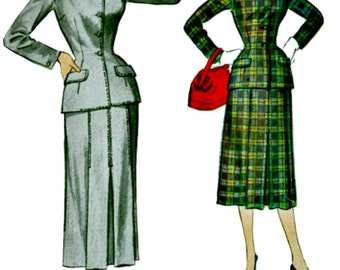 1950s Career Suit Pattern  McCALLs 9717  1954 Vintage Tailored Suit Pattern  Retro Sewing Pattern Bust 32