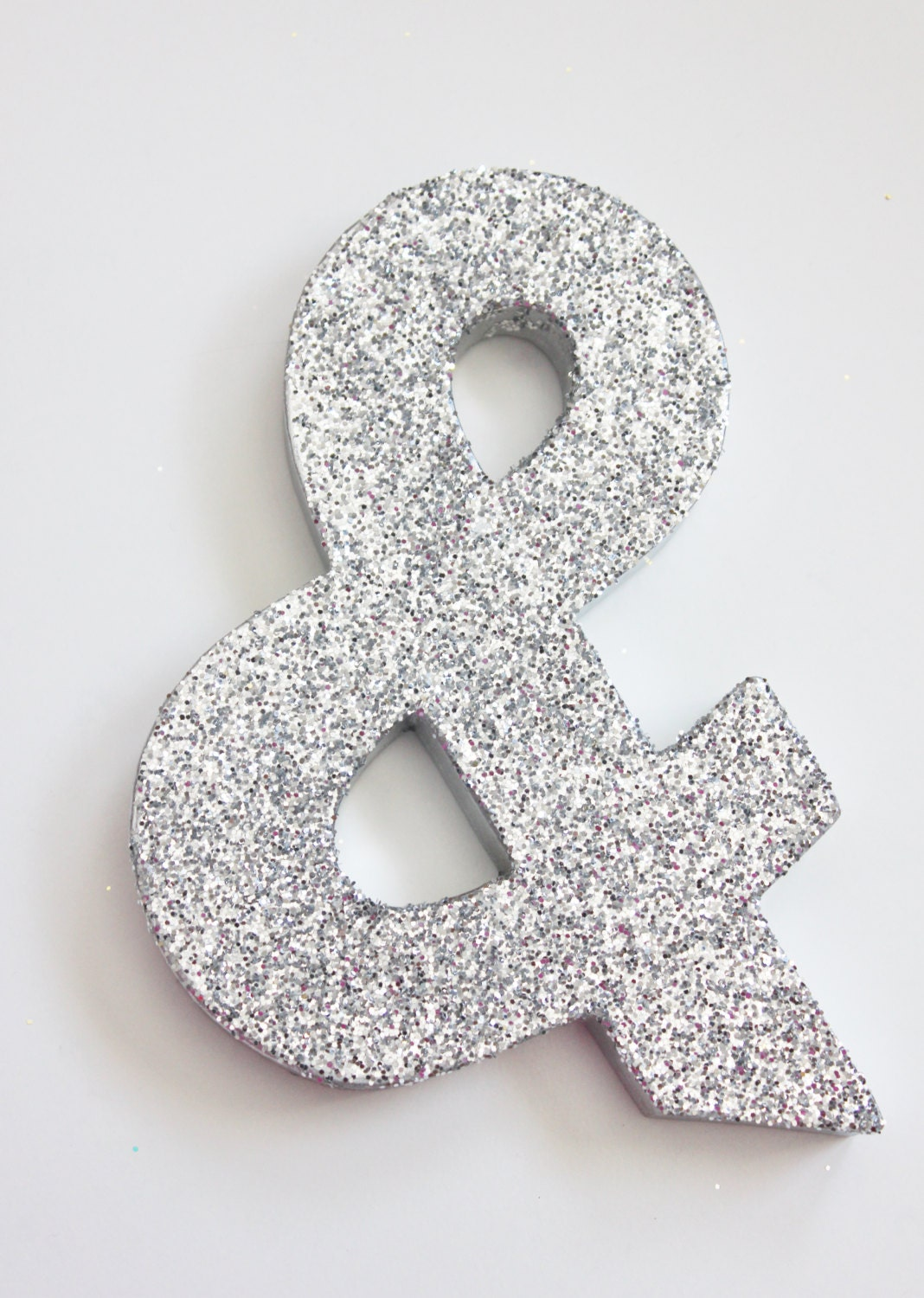 8 glitter letter ampersand sign glittered silver for Silver letters freestanding