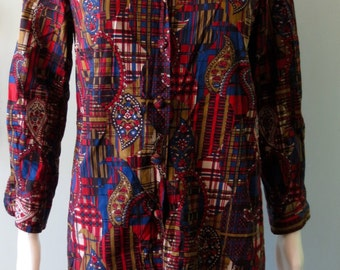 Chic  1960's Abstract Red and Blue Joyce Dress