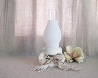 Paris Chic Candle Holder in Heirloom White / Cottage Chic Candle Holder with Glass Shade