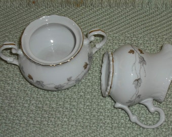 Clearance Vintage Lovely Fine China Japan Maria Pattern Cream Pitcher Sugar Bowl no Lid Scalloped Edge Floral Gold Trim Home Kitchen Serving