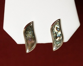 Taxco Abalone Inlay Earrings, Screw Backs Sterling Silver, Vintage Mexico Handmade Signed