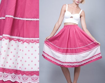 vintage 70s skirt square dance fuschia pink prairie cotton polka dot lace ONE SIZE - Small Medium Large