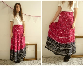 Vintage Indian Sequin & Bead Embellished Ombre Maxi Skirt Size XS