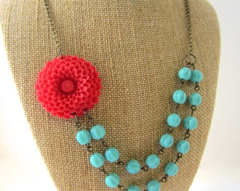 Flower Necklace Statement Necklace Red and Turquoise Jewelry Double Strand Necklace Beaded Bridesmaid Jewelry Set Red Necklace