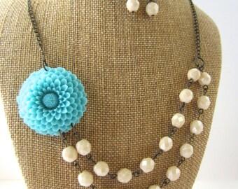 Aqua Blue Flower Necklace Statement Necklace Double Strand Necklace Aqua Wedding Jewelry Bridesmaid Jewelry