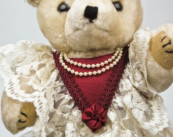 "Plush Blonde Lady Teddy Bear CAFI Bear Nothing But Lace 13"" Inch Vintage 80s Collectible Bear"