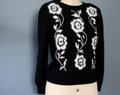 Black Knit Sweater, Floral Sweater, Vintage Sweater, Pullover Sweater